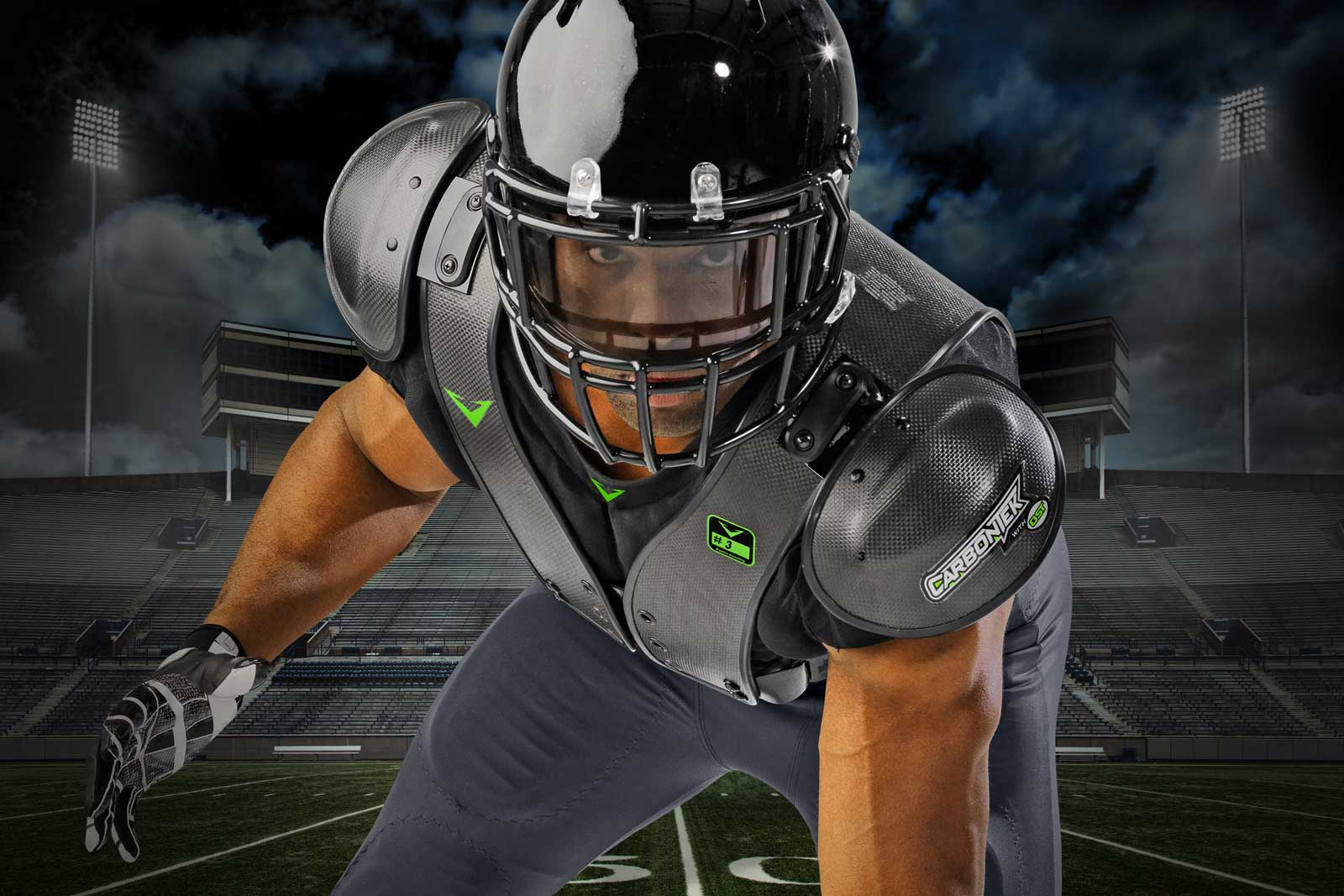 Built for Power - CarbonTek™ Carbon Fiber Football Shoulder Pads