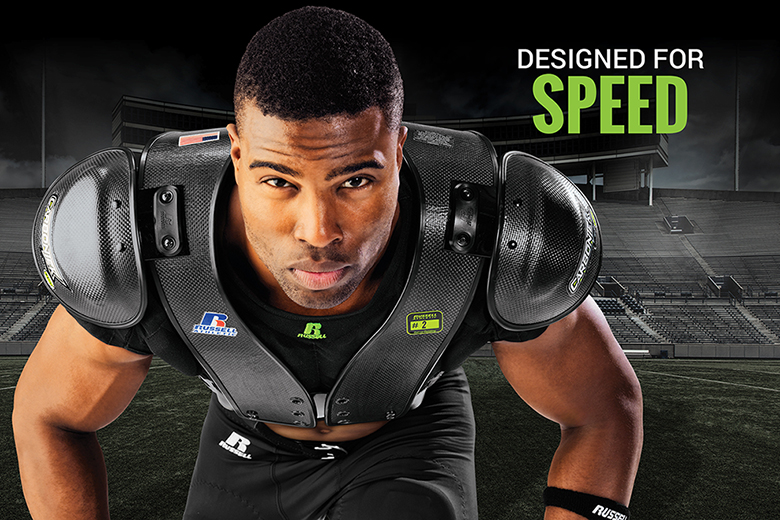 Built for Power - CarbonTek™ Carbon Fiber Football Shoulder Pads by Russell Athletic